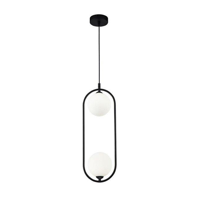 Подвесной светильник Ring черного цвета с белыми плафонами