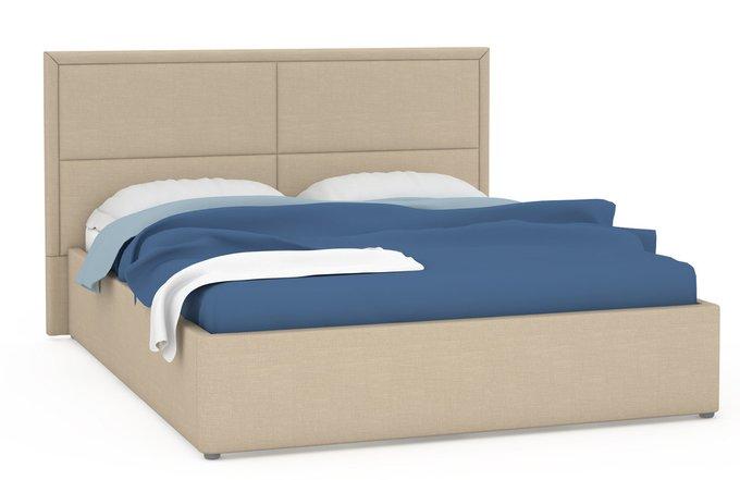 Кровать Прага бежевого цвета с подъемным ортопедическим основанием 160х200