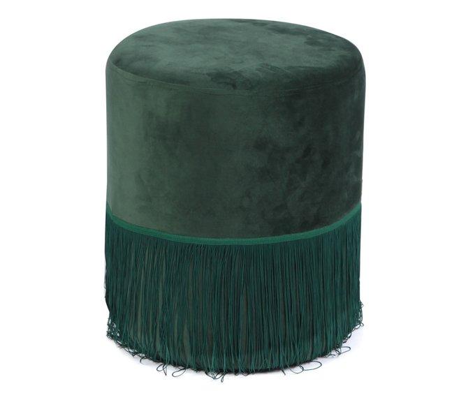 Пуф с бахромой зеленого цвета