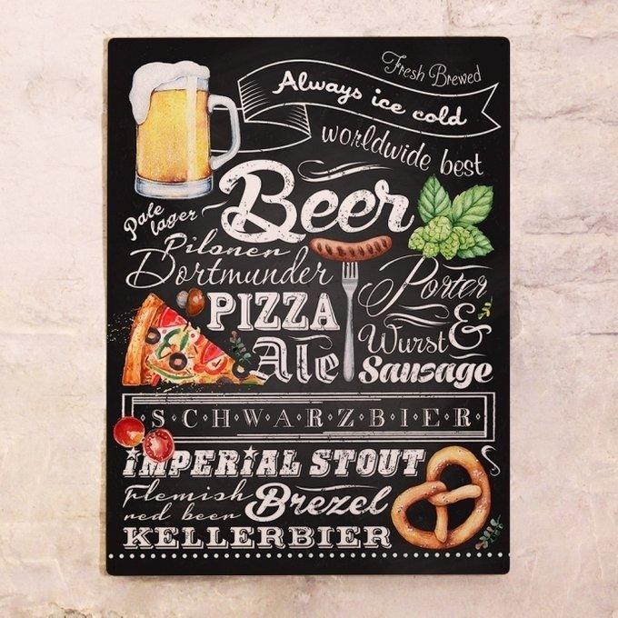 Металлический плакат Пиво и закуски