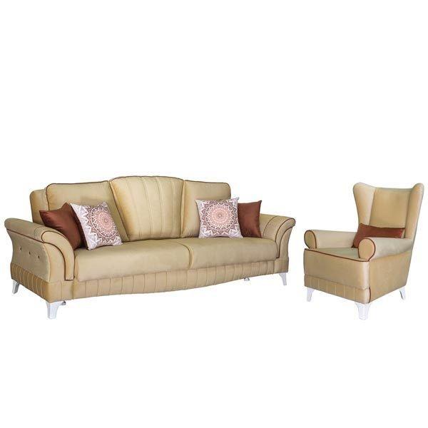 Каролина диван-кровать и кресло в обивке из велюра бежевого цвета