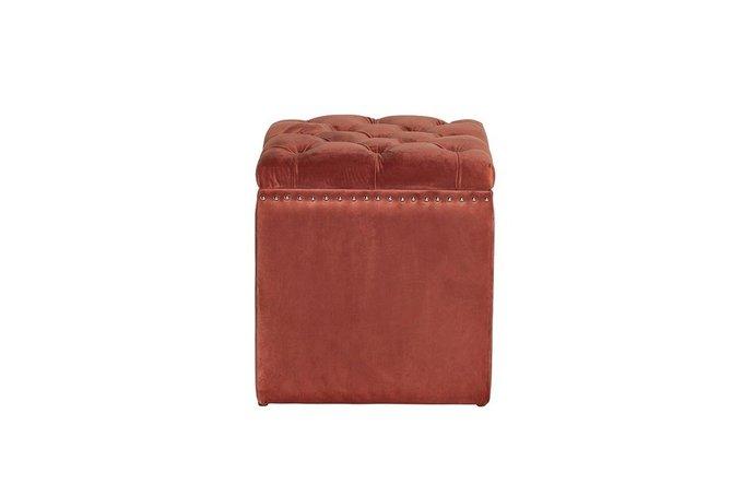 Пуф с крышкой из велюра темно-розового цвета
