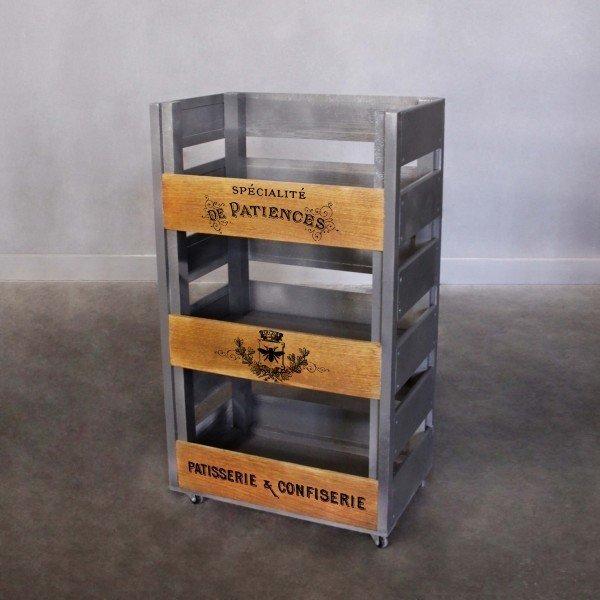 Стеллаж на колесиках Asti с тремя открытыми ящиками