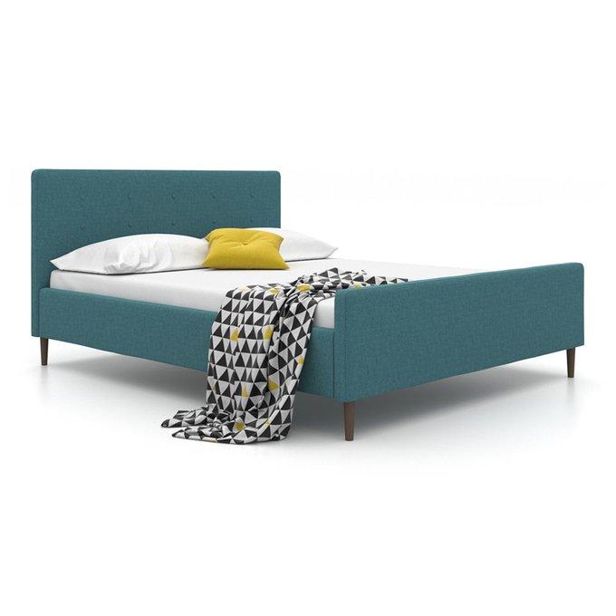 Кровать Scandi на ножках  зеленого цвета 160х200