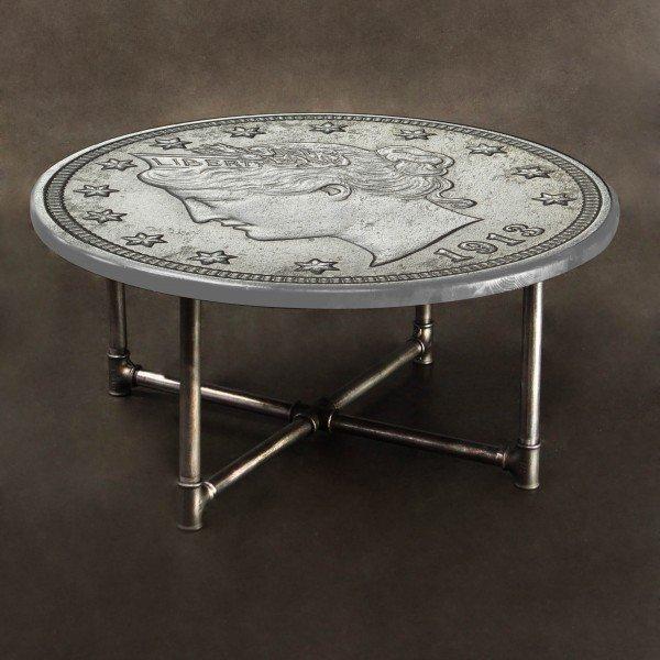 Журнальный столик Монета из массива сосны и металла