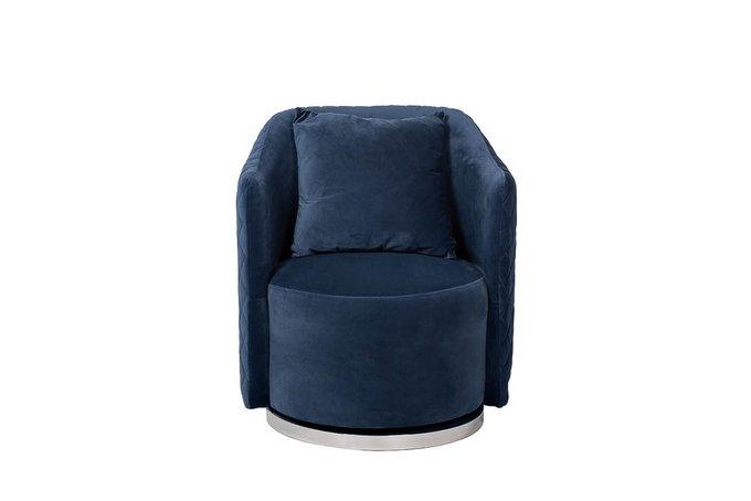 Кресло вращающееся из велюра темно-синего цвета