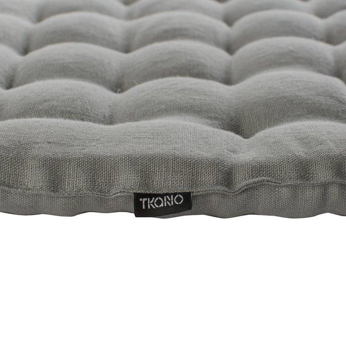 Декоративная подушка на стул из умягченного льна серого цвета