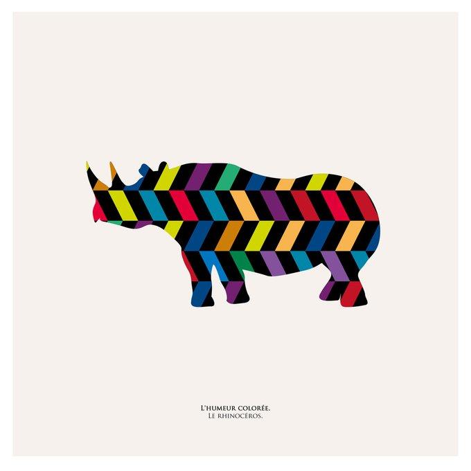 """Картина """"Семицветное настроение, носорог"""""""