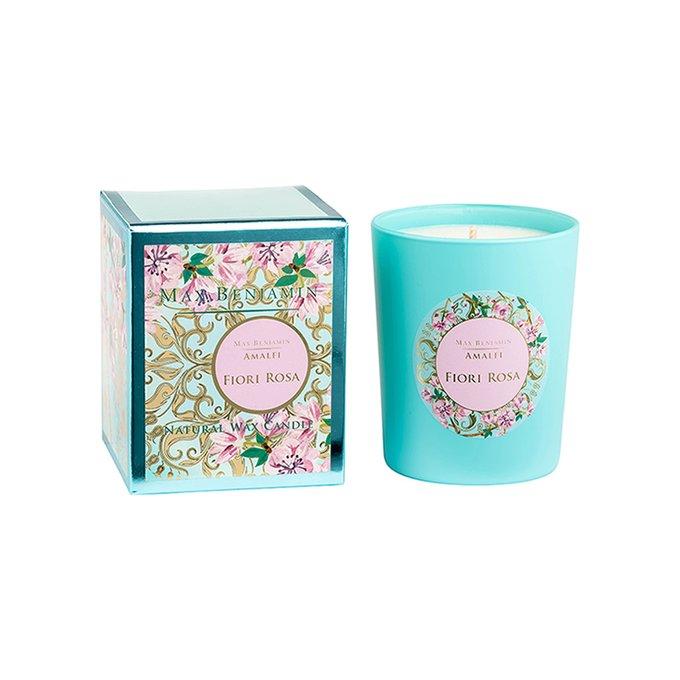 Ароматическая свеча Amalfi FioriI Rosa бирюзового цвета