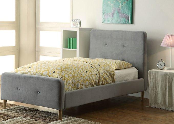 Кровать Button Tufted Flannelette Gray серого цвета 140х200