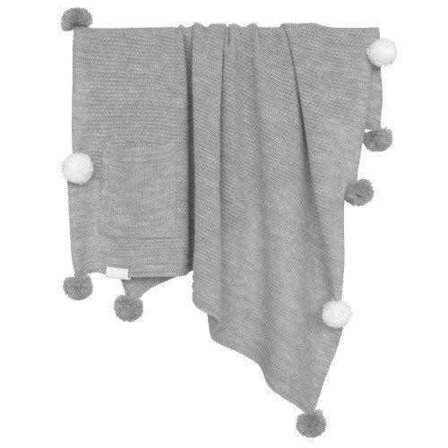 Плед Pompon серого цвета с белыми и серыми помпонами