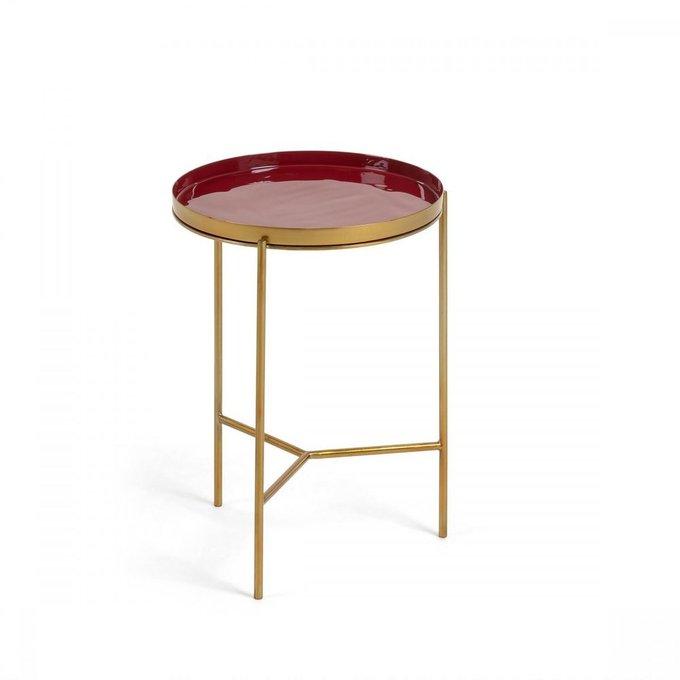 Журнальный стол Naoko из металла бордового цвета
