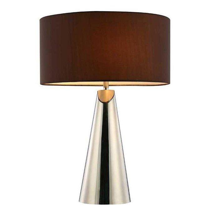 Настольная лампа с коричневым абажуром