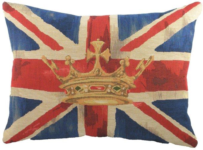 Большая подушка с британским флагом Crown Blue