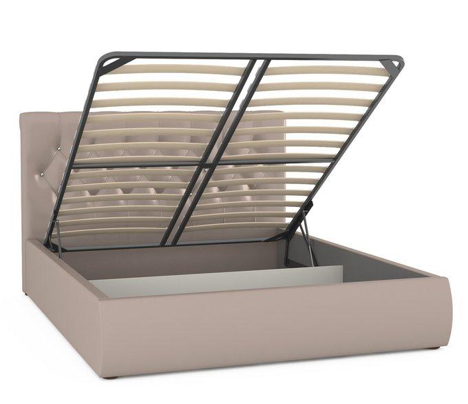 Кровать Тиффани бежевого цвета с подъемным ортопедическим основанием и дном 160х200