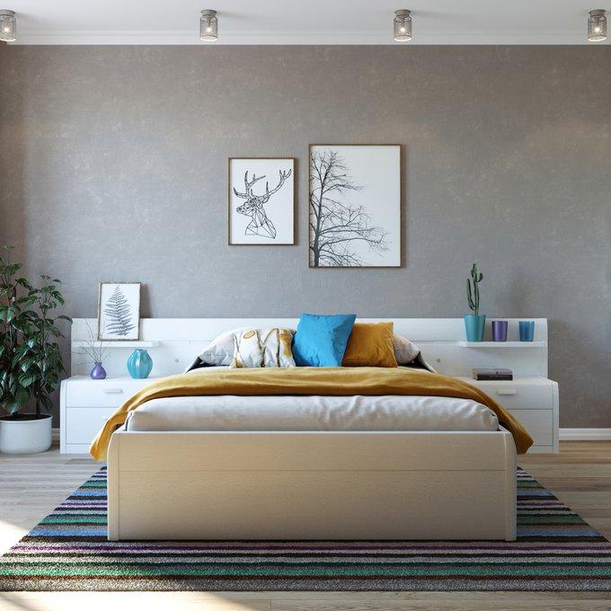 Кровать Илона 180х200 белого цвета с подъемным механизмом