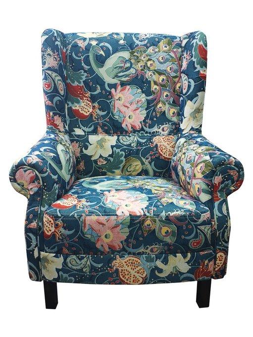 Кресло Райский сад синего цвета