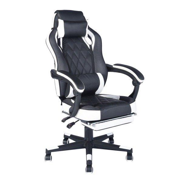 Кресло игровое Top Chairs Virage черно-белого цвета
