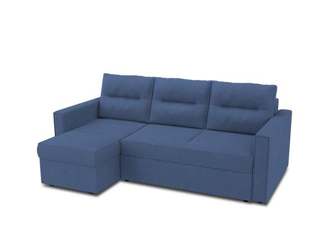 Угловой диван-кровать левый Macao синего цвета