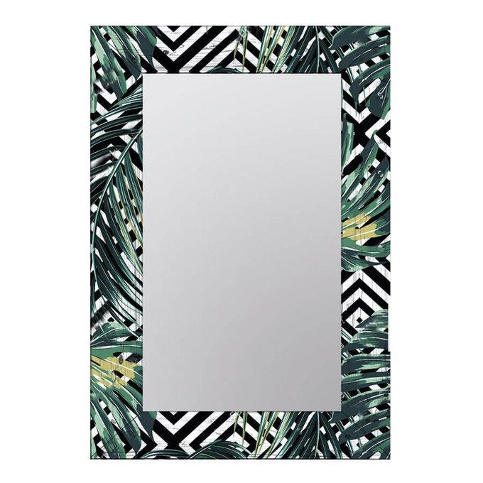 Настенное зеркало Пальмовые листья в раме из натурального дерева 75х140