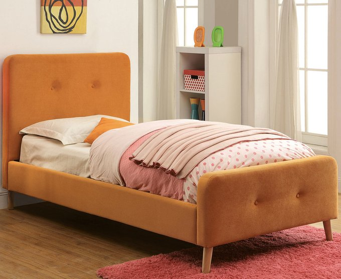 Кровать Button Tufted Flannelette Orange оранжевого цвета 120х200
