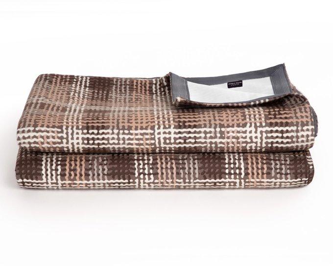 Покрывало Uno Quadro Beige 140x210 коричневого цвета