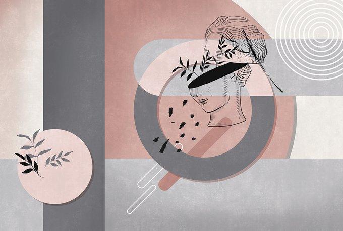 Фотообои Абстрактные мысли в розово-серых цветах