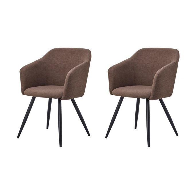 Набор из двух стульев Уолтер с обивкой из ткани коричневого цвета