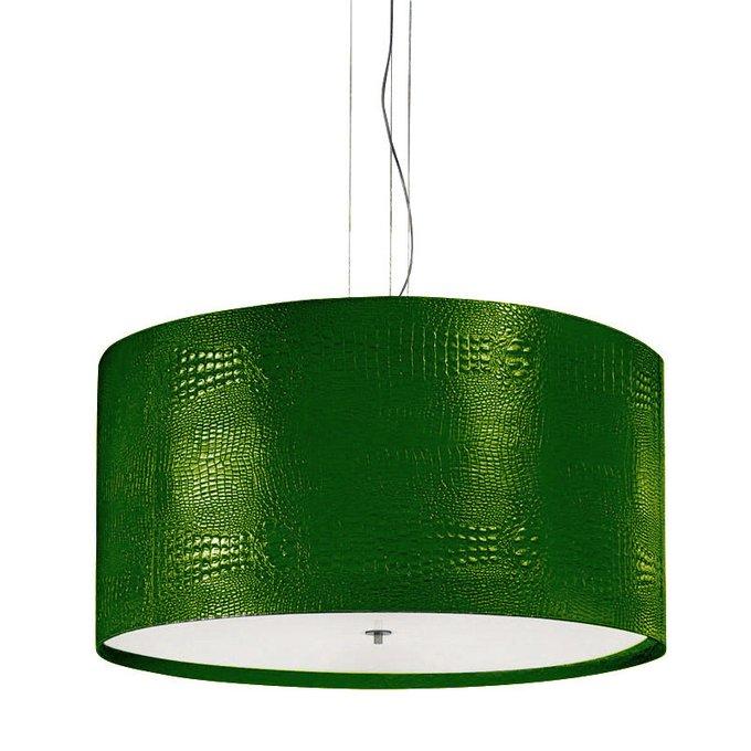 Подвесной светильник Panzeri DEBUT с плафоном из фактурной искусственной кожи зеленого цвета