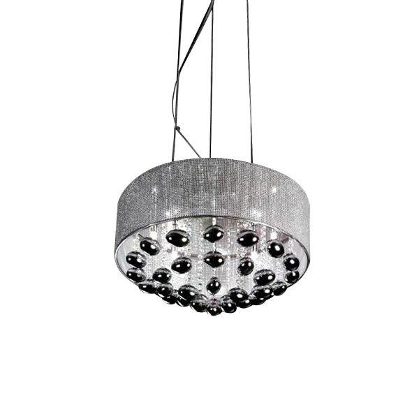 Подвесной светильник Horizon с плафоном в виде металлической сетки из хромированного металла