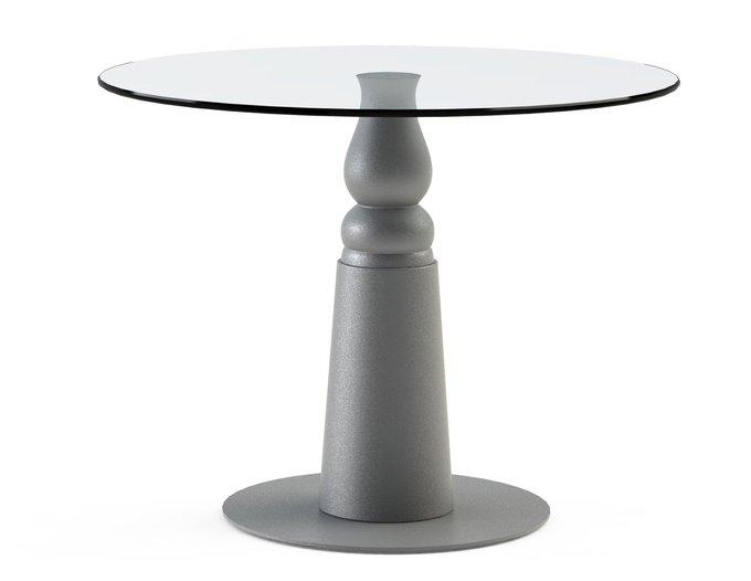 """Обеденный стол """"IGNIS Silver"""" с круглой столешницей из закаленного стекла"""