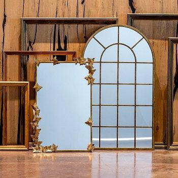 Настенное зеркало Гамбург цвета состаренного золота