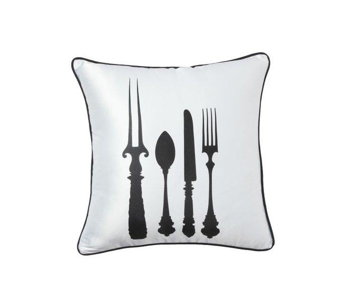 Подушка с принтом Tableware White