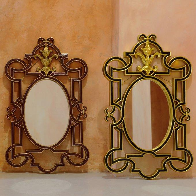 Настенное зеркало Аваллон / Нуар в черно-золотистой раме