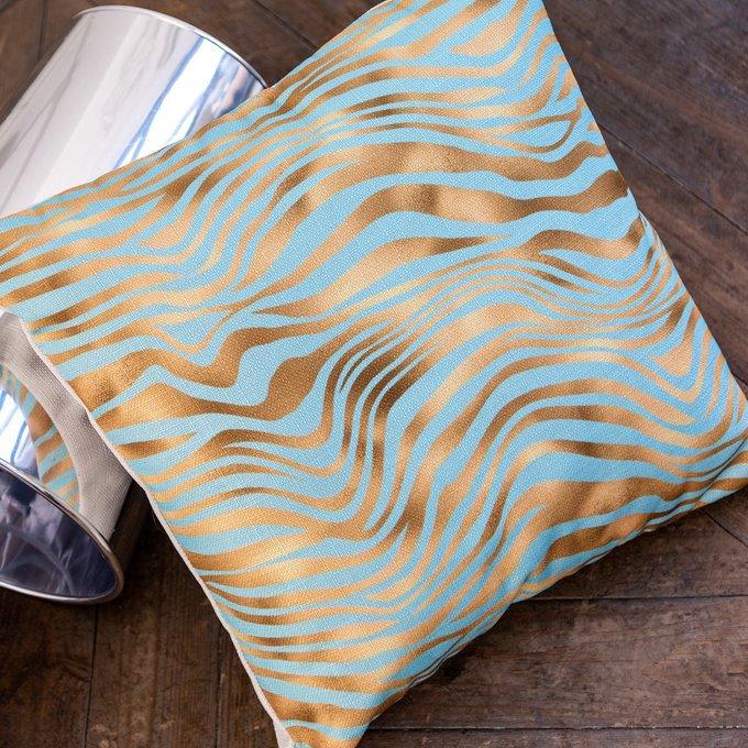 Интерьерная подушка Зебра золото-голубого цвета