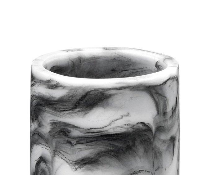 Стакан для зубных щеток Smoked Marble с эффектом черного мрамора