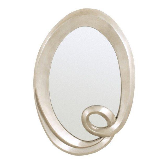 Настенное зеркало Oval в раме серебристого цвета