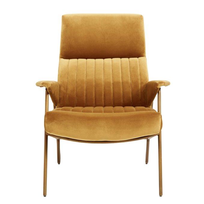 Кресло Ibex с велюровой обивкой горчичного цвета