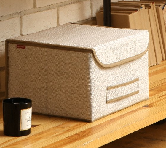 Коробка для хранения Casy Home с крышкой бежевая