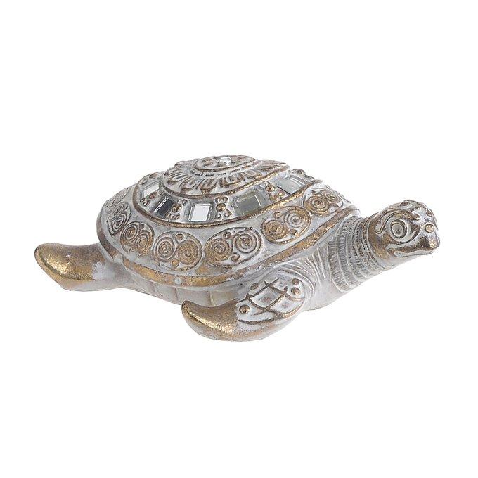 Статуэтка Черепаха бело-золотого цвета