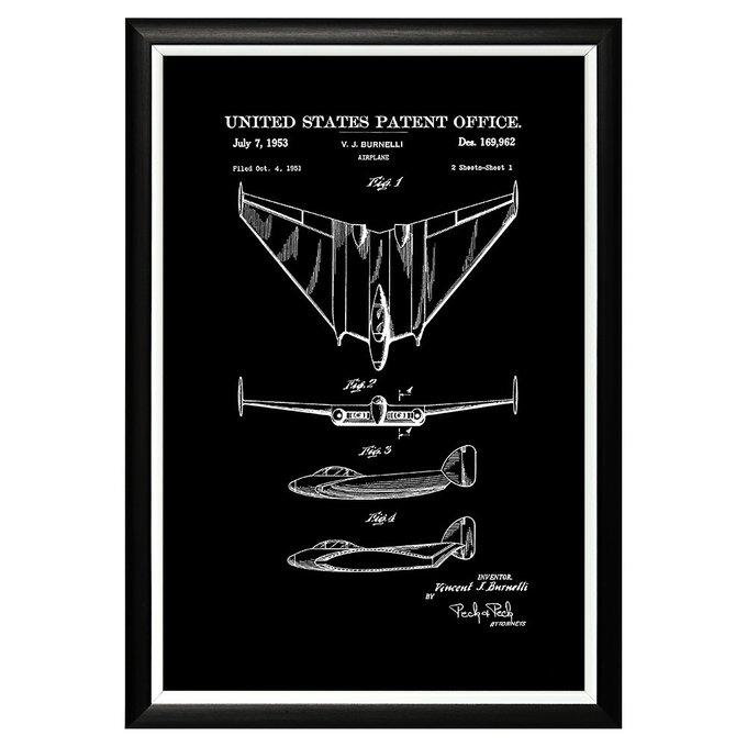 Арт-постер Патент Винсента Бурнелли на самолет 1953