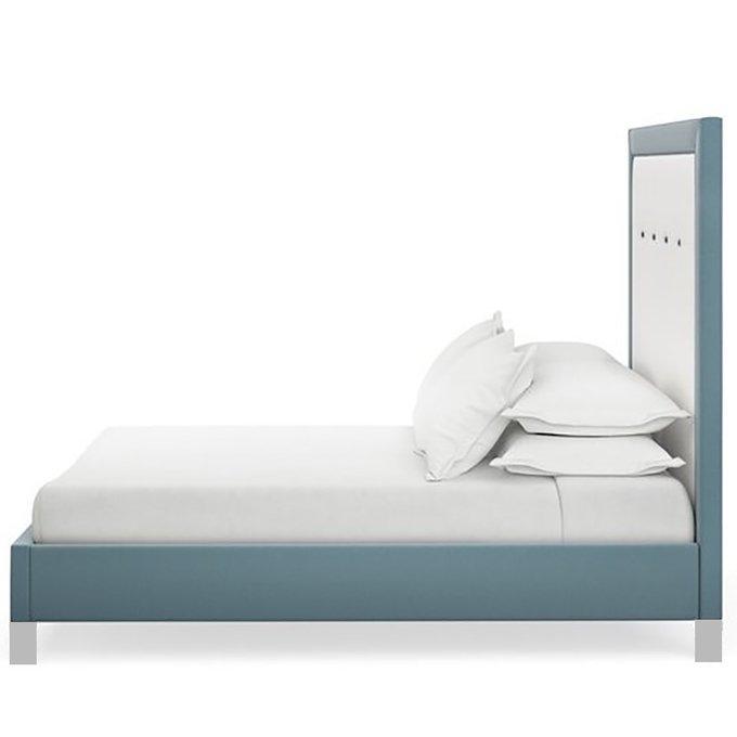 Кровать Penelopeс высокой спинкой бело-голубого цвета 160x200