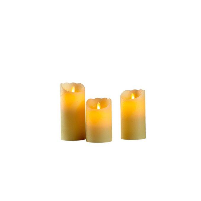Набор из 3-х свечей с LED лампочками Dialma Brown из пластика