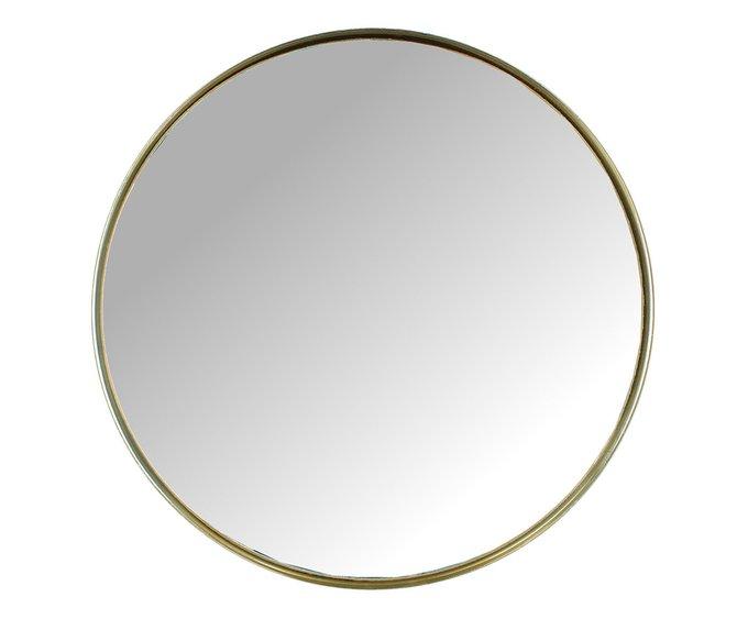 Круглое настенное зеркало в металлической раме