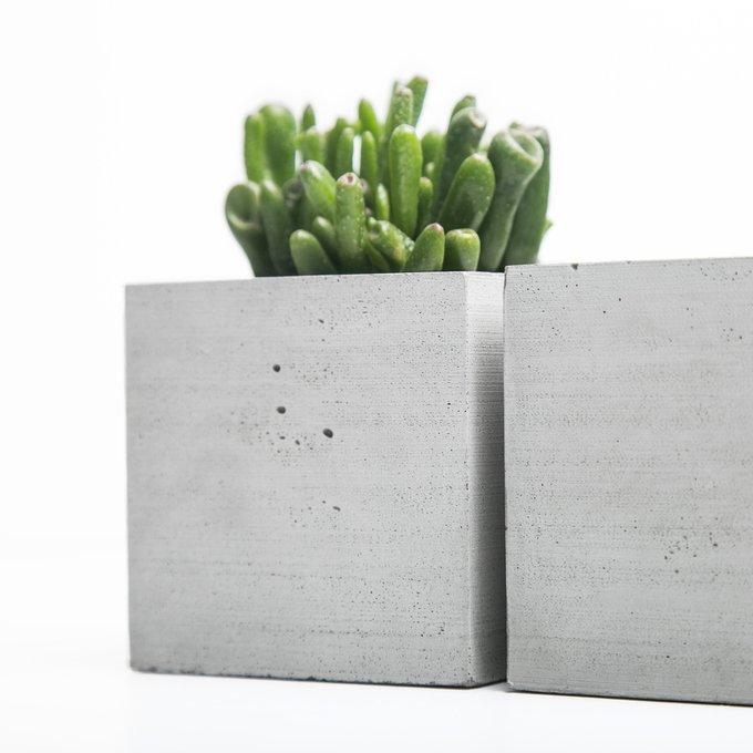 кашпо КУБ S натуральный бетон