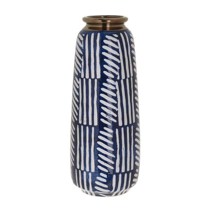 Керамическая ваза сине-белого цвета