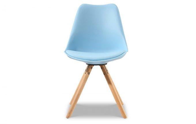 Стул Кейси с деревянными  ножками голубой