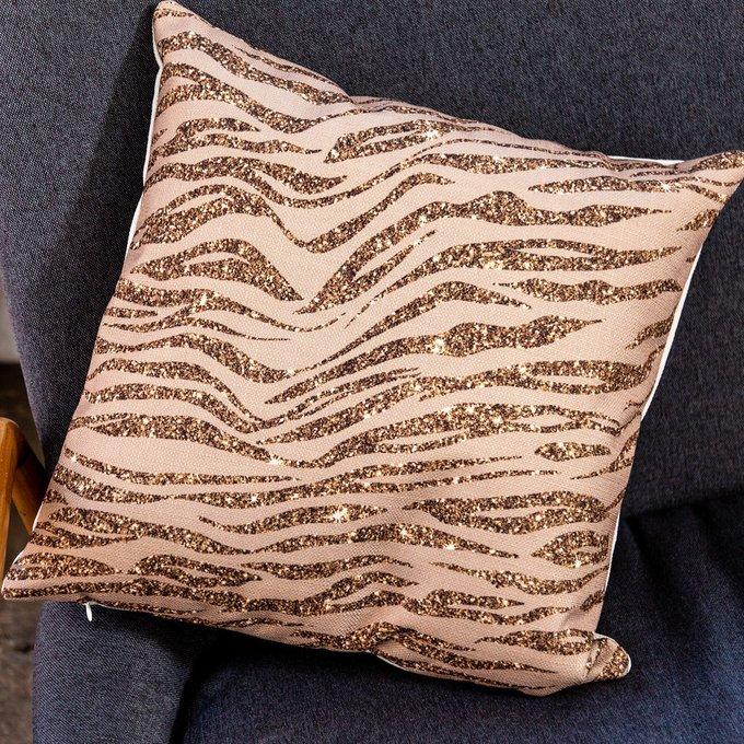 Интерьерная подушка Зебра бежево-золотого цвета