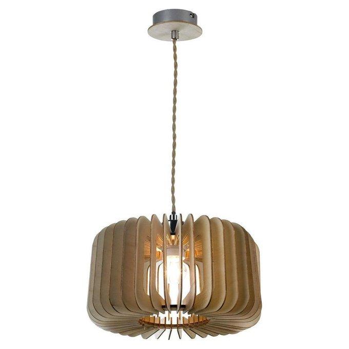 Подвесной светильник с деревянным плафоном