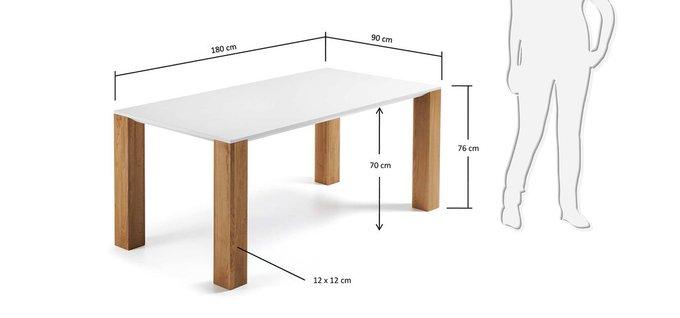 Прямоугольный обеденный стол Julia Grup Zuni на широких ножках из массива дуба